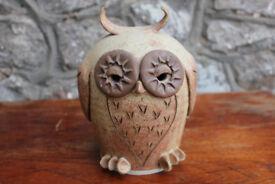 "Unusual Large 7"" Vintage Art Pottery Owl Studio Pottery Money Box Handmade Ceramic Piggy Bank"