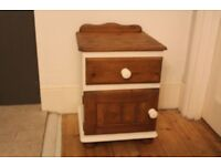 Bedside cabinet with drawer and cupboard, refurbished, pine.
