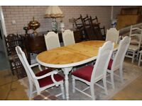 shabby chic 7ft extending table and six chairs