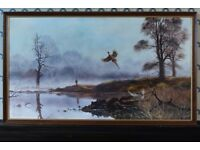 The Pheasant Shoot by Royce Harmer oil on canvas painting