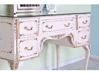 LOUIS FRENCH STYLE DRESSING GLASS TOP TABLE & MIRROR SHABBY CHIC - CAN COURIER