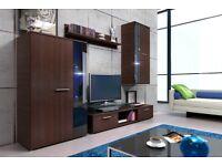 NEW!!! Modern Wall Unit SALSA /EntertainmentTv Unit Cabinet /Shelf / Cabinet Hanging Wood Glass Door