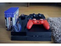 Sony Playstation 4, 500GB, 2x controllers and 5 games