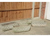 4 USED CEMENT TROUGHS FOR THE GARDEN