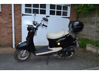 50cc Scooter, Black/cream seat, retro look, brilliant condition.
