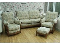 Ercol Three piece suite and footstool