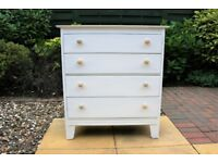 Vintage White Chest Of 4 Drawers