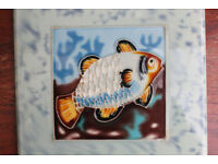 Vintage Retro Old Decorative Fish Design Tile Hand Painted Display Tile Art Handainted Unusual