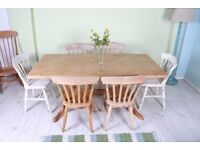 DELIVERY OPTIONS - 6 ft FARMHOUSE PINE TABLE & 6 BEECH CHAIRS SHABBY CHIC