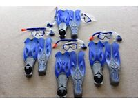 Speedo Family Snorkel Sets (4 complete Sets) including Flippers, Snorkels, Face Masks