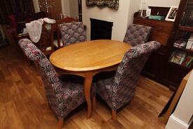 As new solid oak oval dining table with Queen Ann legs + 4 fabric covered chairs - Offers welcome