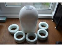 Tommee Tippee Sangenic nappy bin and 5 refills