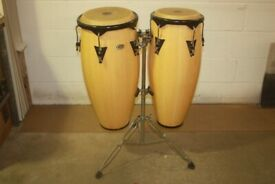 LP Cosmic Percussion CP Natural Lacquered Conga Drums 10in + 11in x 28in deep on stand - £200 ono