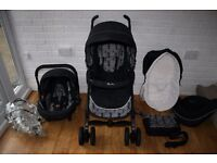 Silver Cross 3D pram pushchair with car seat 3 in 1 - black Monodot *can post*