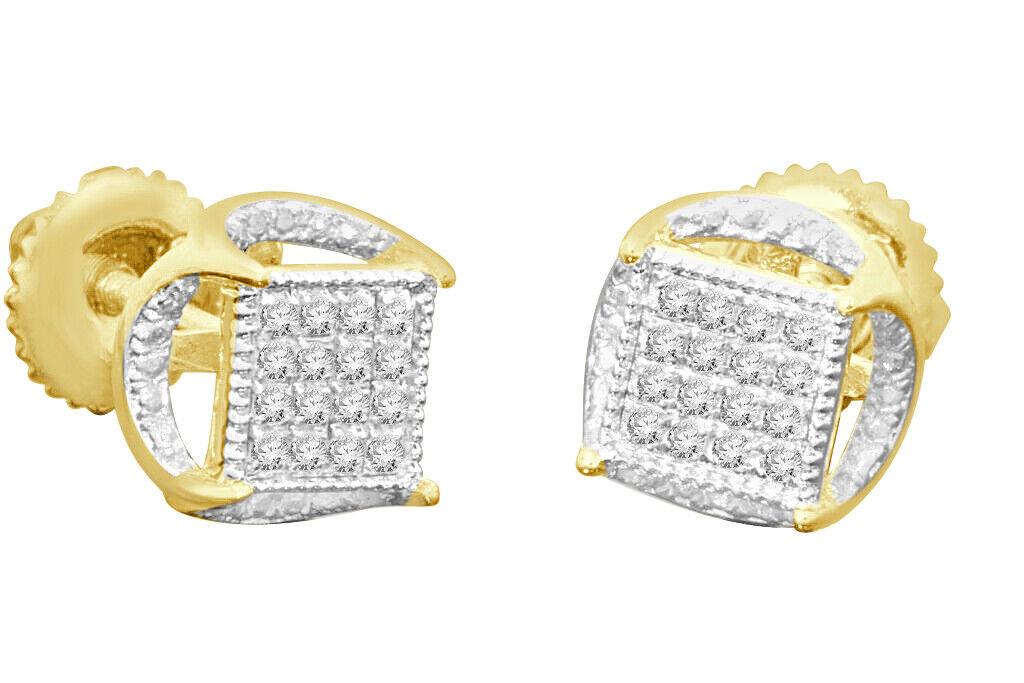 .11 CARAT YELLOW GOLD FINISH MENS WOMENS 5 mm 100% REAL DIAMONDS EARRINGS STUDS 1