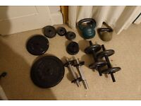 Selection of weights inc. dumbbells and kettlebells
