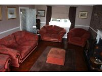 Sofas/Settees/Armchairs 4 piece suite with Poufe