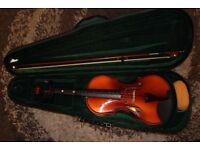 Violin (1 m) with green Violin case