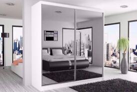 180CM GERMAN WOOD FULLY MIRRORED SLIDING DOORS BERLIN WARDROBE IN BLACK/WHITE/WALNUT
