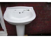 Bathroom wash hand basin with pedestal