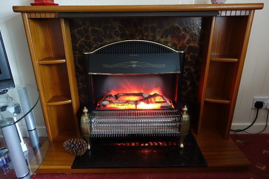 Wooden Fire Surround And Electric Two Bar