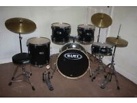 Mapex V Series Black 5 Piece Full Drum Kit complete with Sabian Solar Hi Hat and Cymbal Set