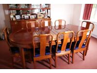 Dining Table and Chairs. Rosewood. Imported from China.