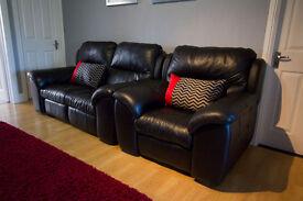 Power Recliner Armchair - Black Italian Leather