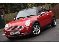 2005 MINI ONE CONVERTIBLE 1.6 RED AND BLACK*3 MONTHS WARRANTY*REAR PARKING AID*HALF LEATHER*2 KEYS