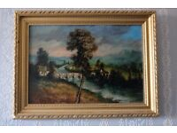 Victorian Landscape Oil on Board in Gilt Frame