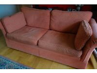 M&S 3 seater sofa, terracotta chenille fabric. W2m xD950cm x H870cm