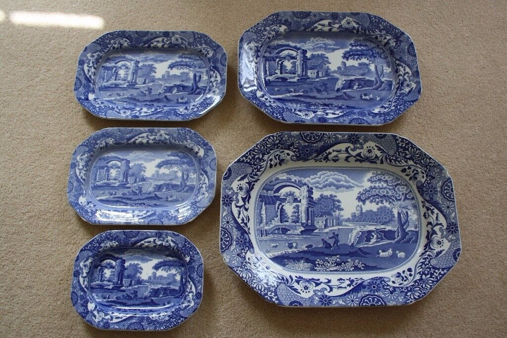 Vintage Spode Blue Italian Platters Plates Or Flat Serving Dishes
