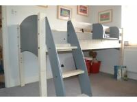 Cresta Scallywag Convertable Mid-sleeper/Cabin bed in Grey/Whitewash with hook on shelf VGC
