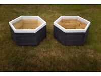 2 New Painted Hexagonal Wooden Planters each H = 30cm L = 60cm