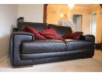 Natuzzi 3 Seat Black Leather Sofa