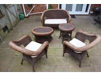 Antique Rattan 5 Piece Furniture Set
