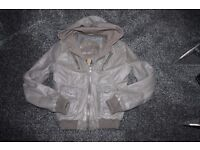 Superdry Womens Grey Leather Hooded Bomber Jacket