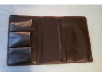 Armrest remote control holder, faux leather, used but good condition
