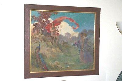 Vintage Fantasy O B Signed F J M  Nude W  Lyre Landscape Peacock Cheetah Maidens