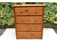Solid wood pine chest of drawers, 4 drawers (h 89 x d 44 x w 75 cm)