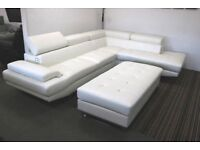 White large corner sofa and XL footstool