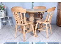 DELIVERY OPTIONS - ROUND FARMHOUSE PINE TABLE & 4 FIDDLE BACK BEECH CHAIRS WAXED