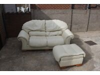 Cream Leather Sofa Bed with Foot Stool