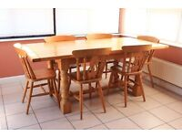 Oak Table and 6 farmhouse style chairs