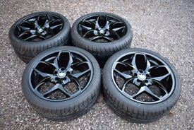 "Genuine BMW 21"" Style 215 X5 E70 F15 Black Alloy Wheels Staggered Dunlop Tyres"