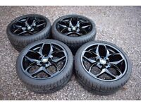 """Genuine BMW 21"""" Style 215 X5 E70 F15 Black Alloy Wheels Staggered Dunlop Tyres"""