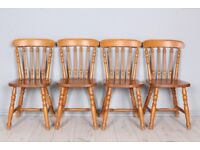 DELIVERY OPTIONS - SET OF 4 SOLID PINE CHAIRS, STURDY JOINTS SECURE COULD PAINT