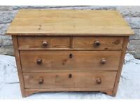 Antique Pine Chest Of Drawers Dutch Farmhouse Rustic solid made heavy period style