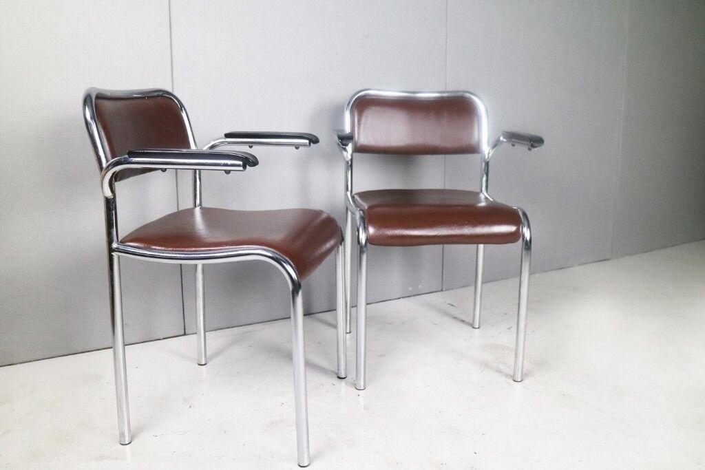 6 Available 1950 60 S German Mid Century Chrome Vinyl Bakelite Office Chairs