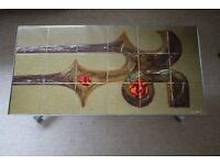 Signed Belgian Adri Style Chrome Tiled Coffee Table RARE